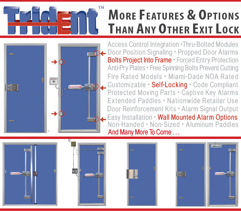 Trident multi point exit device